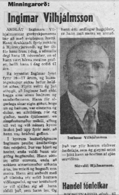 Minningarorð um Ingimar eftir Sigvalda Hjálmarson.