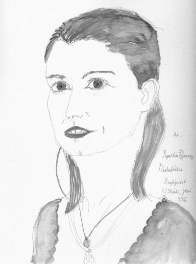 Sigurlín Bjarney Gísladóttir. Teikning: Kristín Ómarsdóttir.